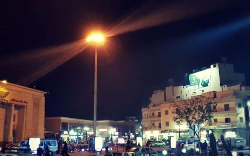 Outside Luxor Station at Night