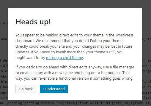 Wordpress Theme Edit Screenshot