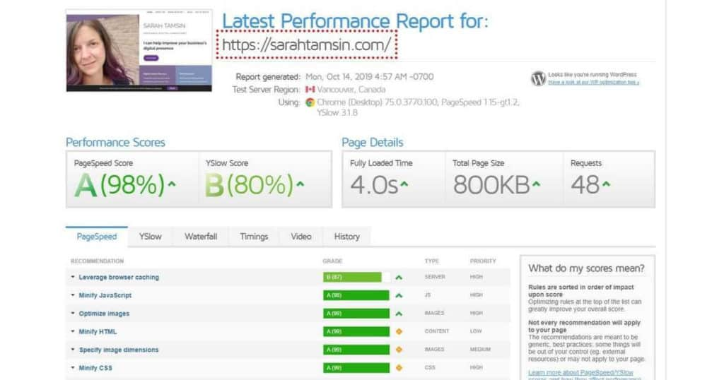 GT Metrix screenshot for SarahTamsin.com - 98% PageSpeed 80% Y Slow score