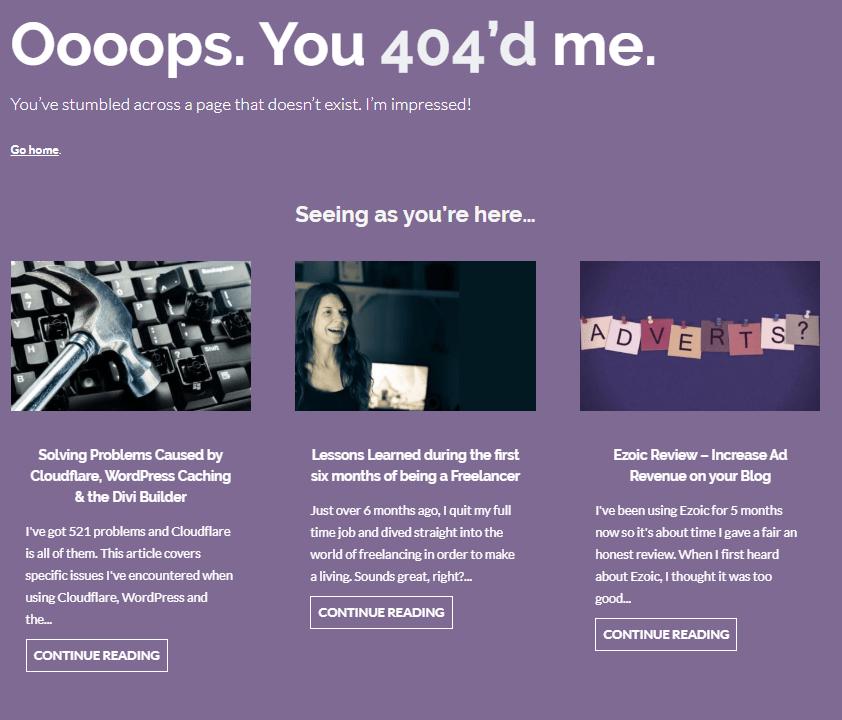 My 404 Page: Oooooops. You 404'd me.