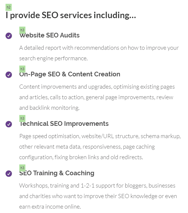 I provide SEO services including...