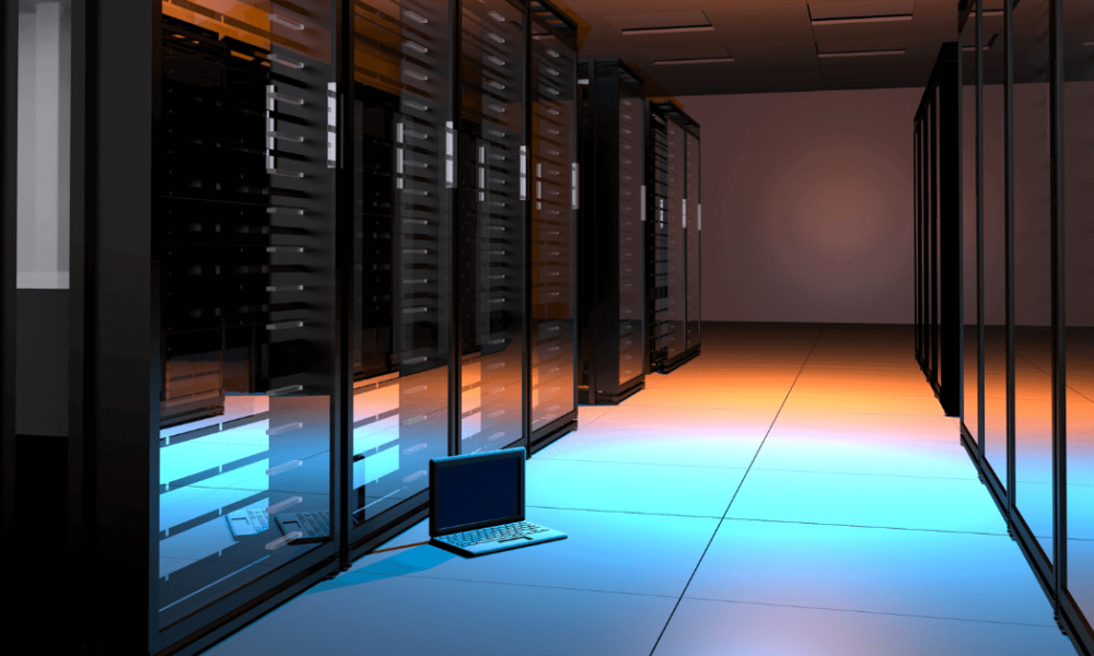Web Hosting Mistakes - a server room with colourful light shining on the floor