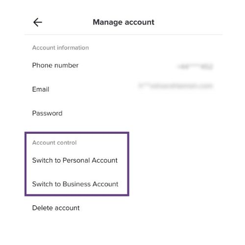 TikTok Manage Account Screen